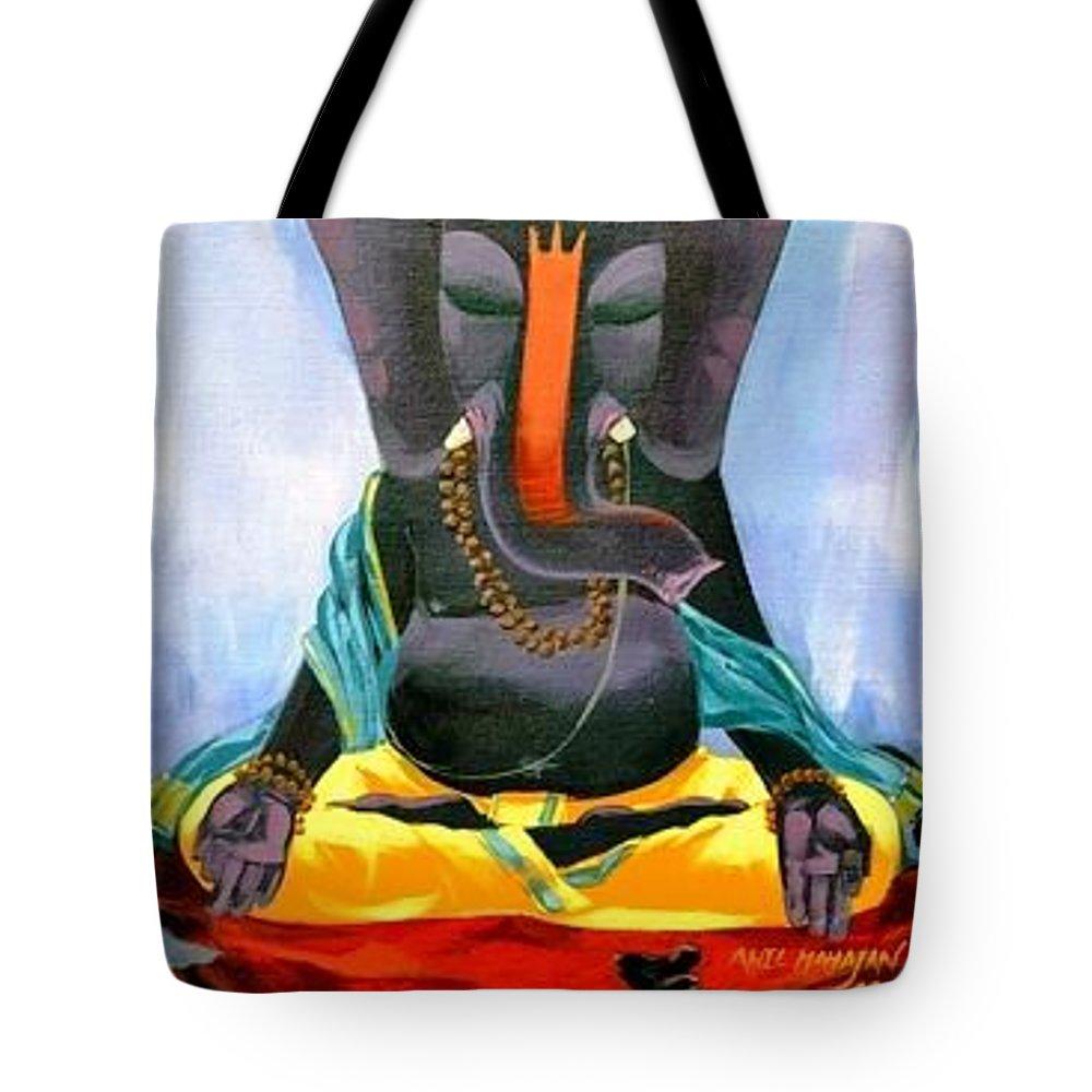 Ganesh Tote Bag featuring the painting Ganesh Rupami by Yokami Arts