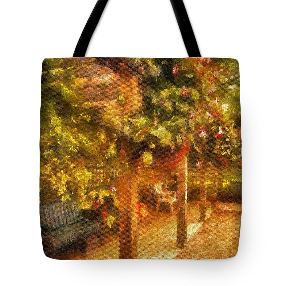Bench Tote Bag featuring the photograph Garden Flowers With Bench Photo Art 01 by Thomas Woolworth