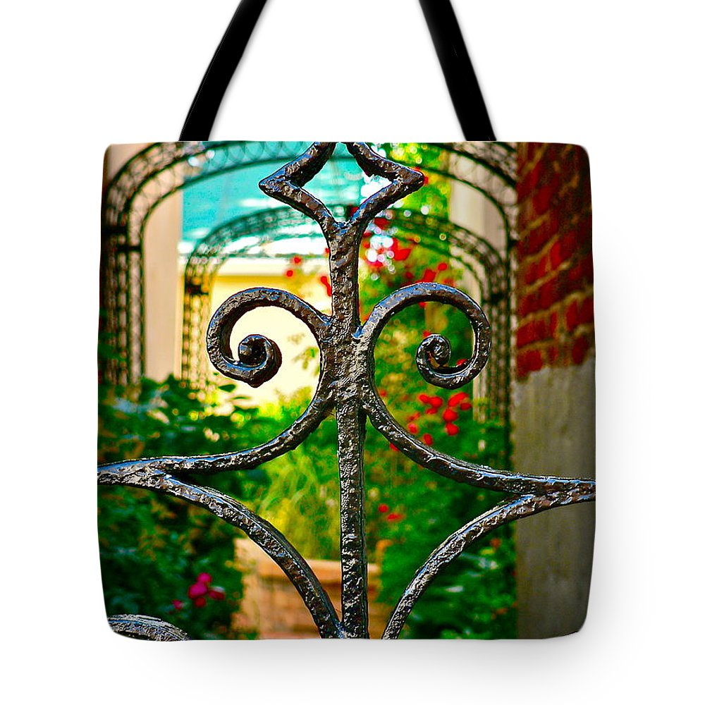Garden Tote Bag featuring the photograph Garden Gate by Jean Wright