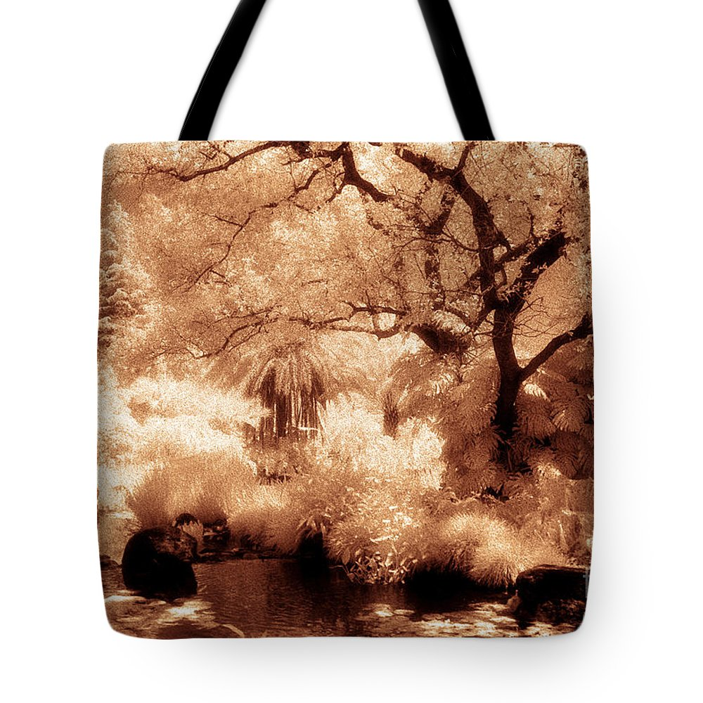 Infrared Tote Bag featuring the photograph Garden Lily Pond by Paul W Faust - Impressions of Light