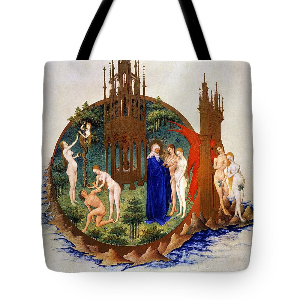 15th Century Tote Bag featuring the photograph Garden Of Eden: Adam & Eve by Granger