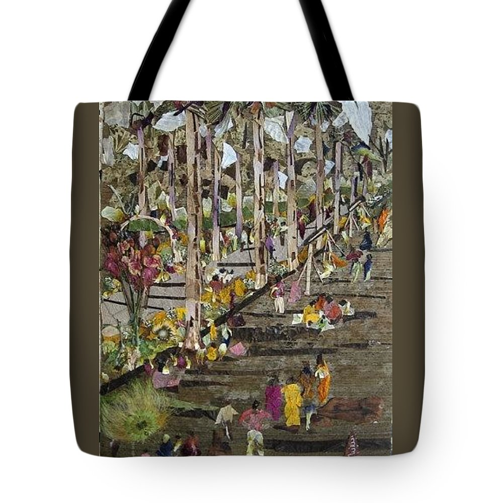 Garden Morning View Tote Bag featuring the mixed media Garden Picnic by Basant Soni