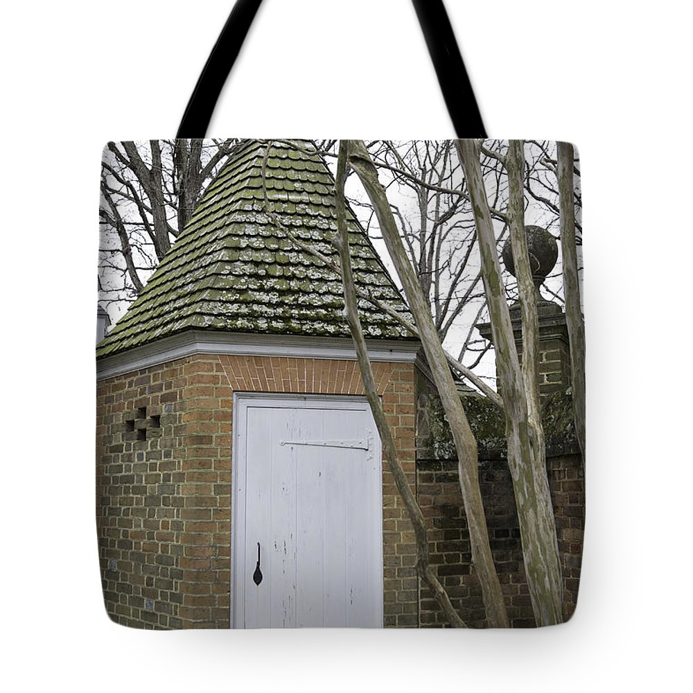 616f3685a29 2013 Tote Bag featuring the photograph Garden Shed Colonial Williamsburg by  Teresa Mucha