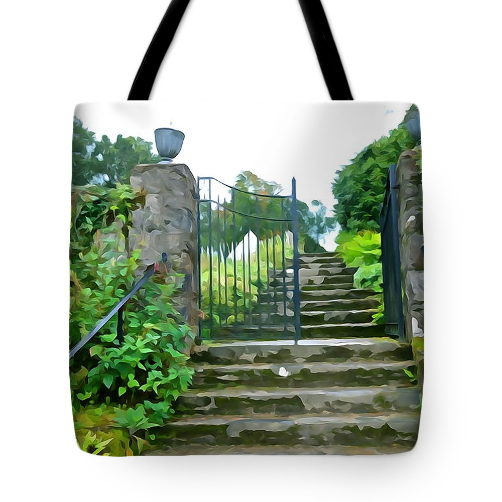 Stone Tote Bag featuring the photograph Garden Steps by Charlie and Norma Brock