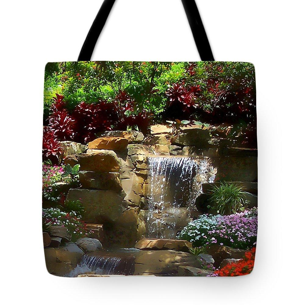 Garden Tote Bag featuring the photograph Garden Waterfalls by Pharris Art