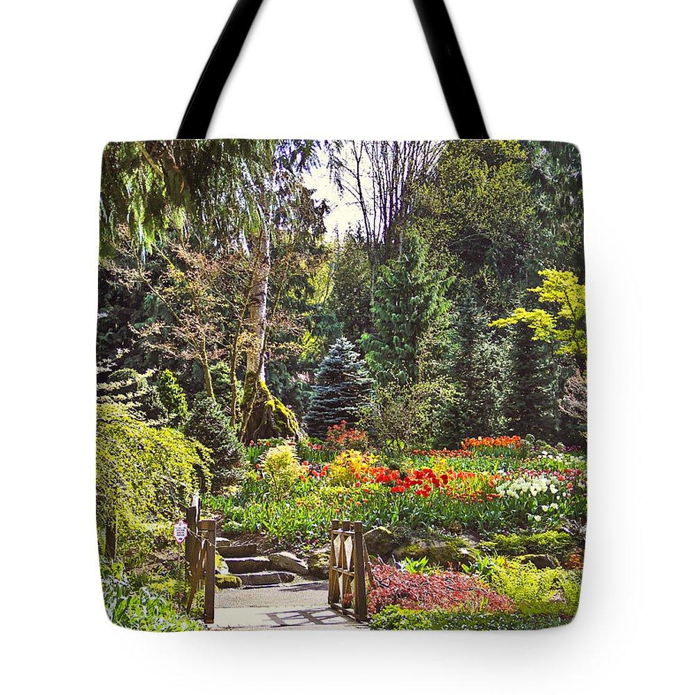 Bridge Tote Bag featuring the photograph Garden With A Bridge by Eti Reid