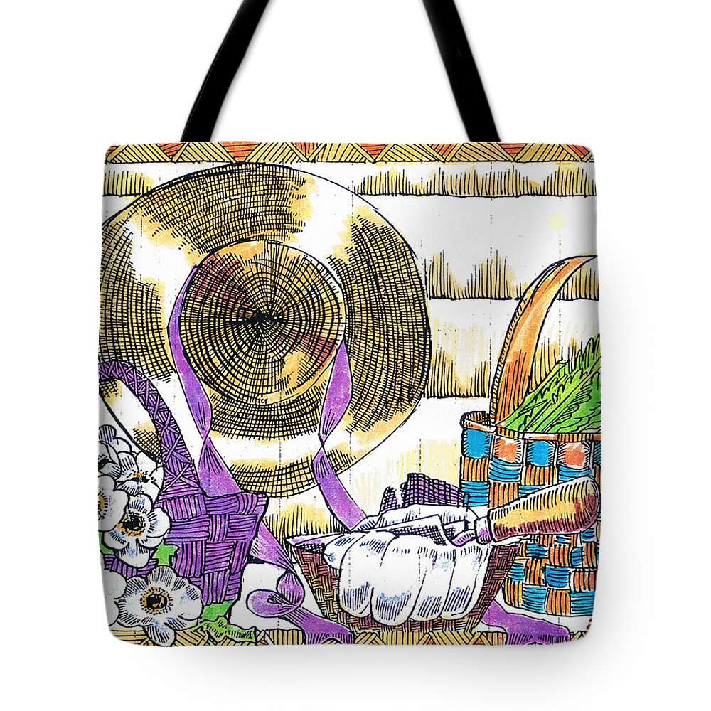 Gardener's Basket Tote Bag featuring the drawing Gardener's Basket by Seth Weaver