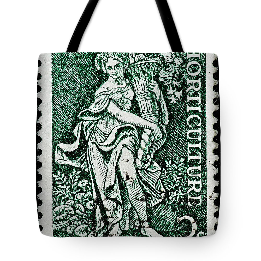 Gardening Tote Bag featuring the photograph Gardening And Horticulture Vintage Postage Stamp Print by Andy Prendy