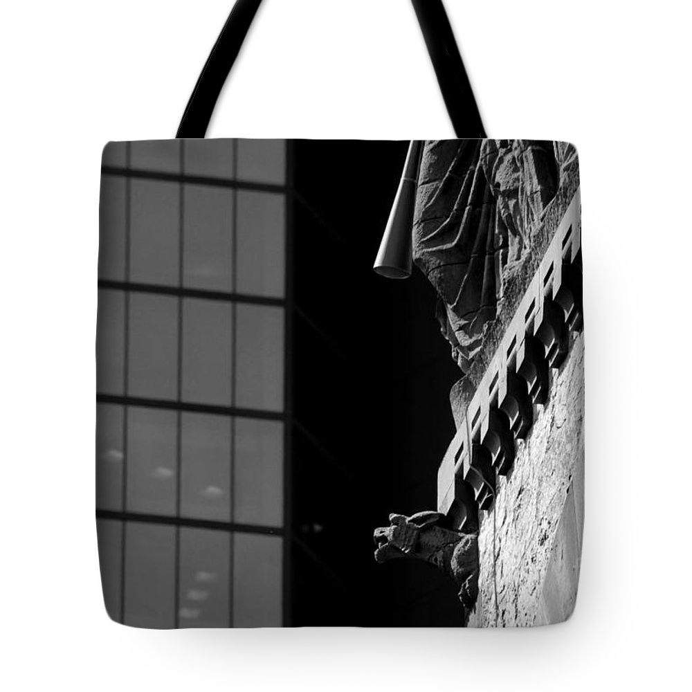 Gargoyle Tote Bag featuring the photograph Gargoyle And Glass by Kenny Glotfelty