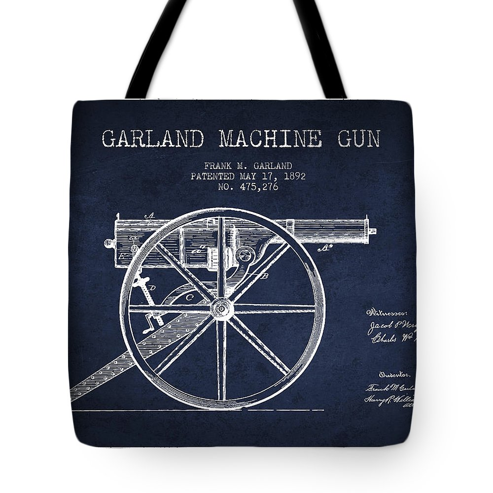 Machine Gun Tote Bag featuring the digital art Garland Machine Gun Patent Drawing From 1892 - Navy Blue by Aged Pixel