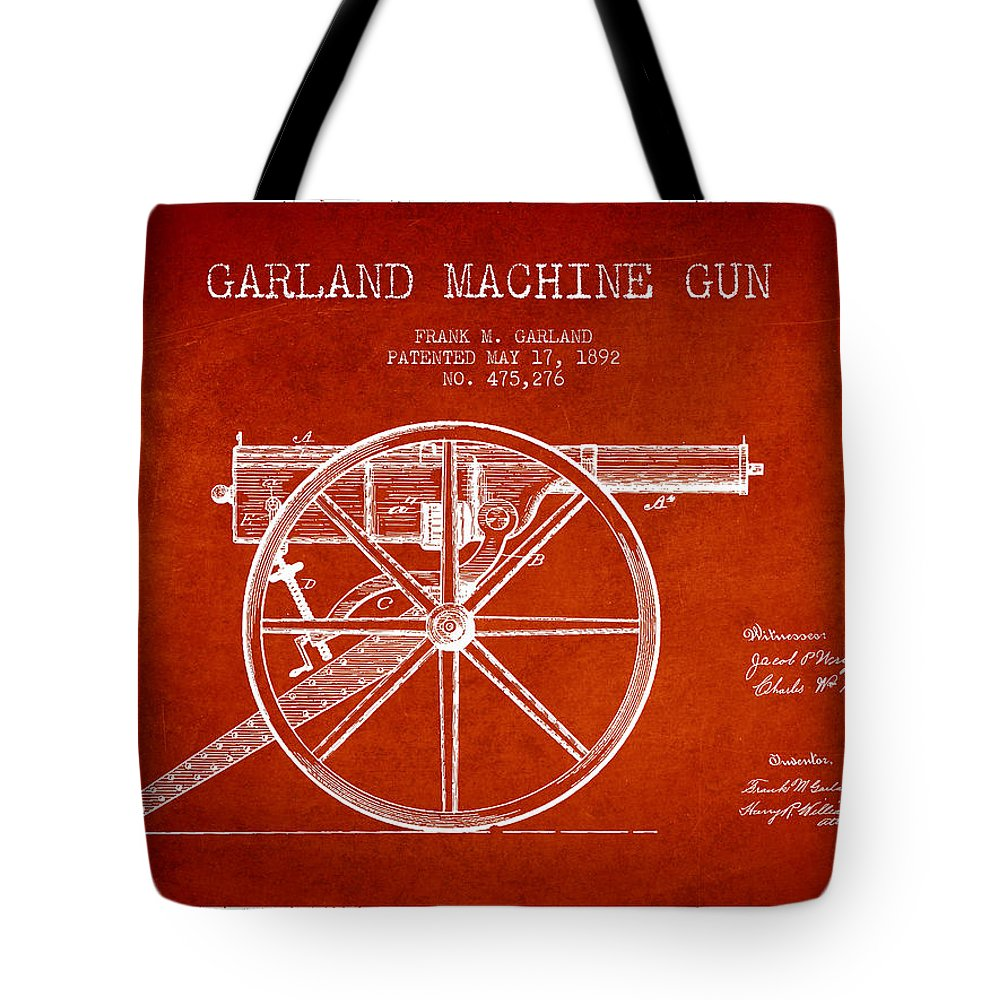 Machine Gun Tote Bag featuring the digital art Garland Machine Gun Patent Drawing From 1892 - Red by Aged Pixel