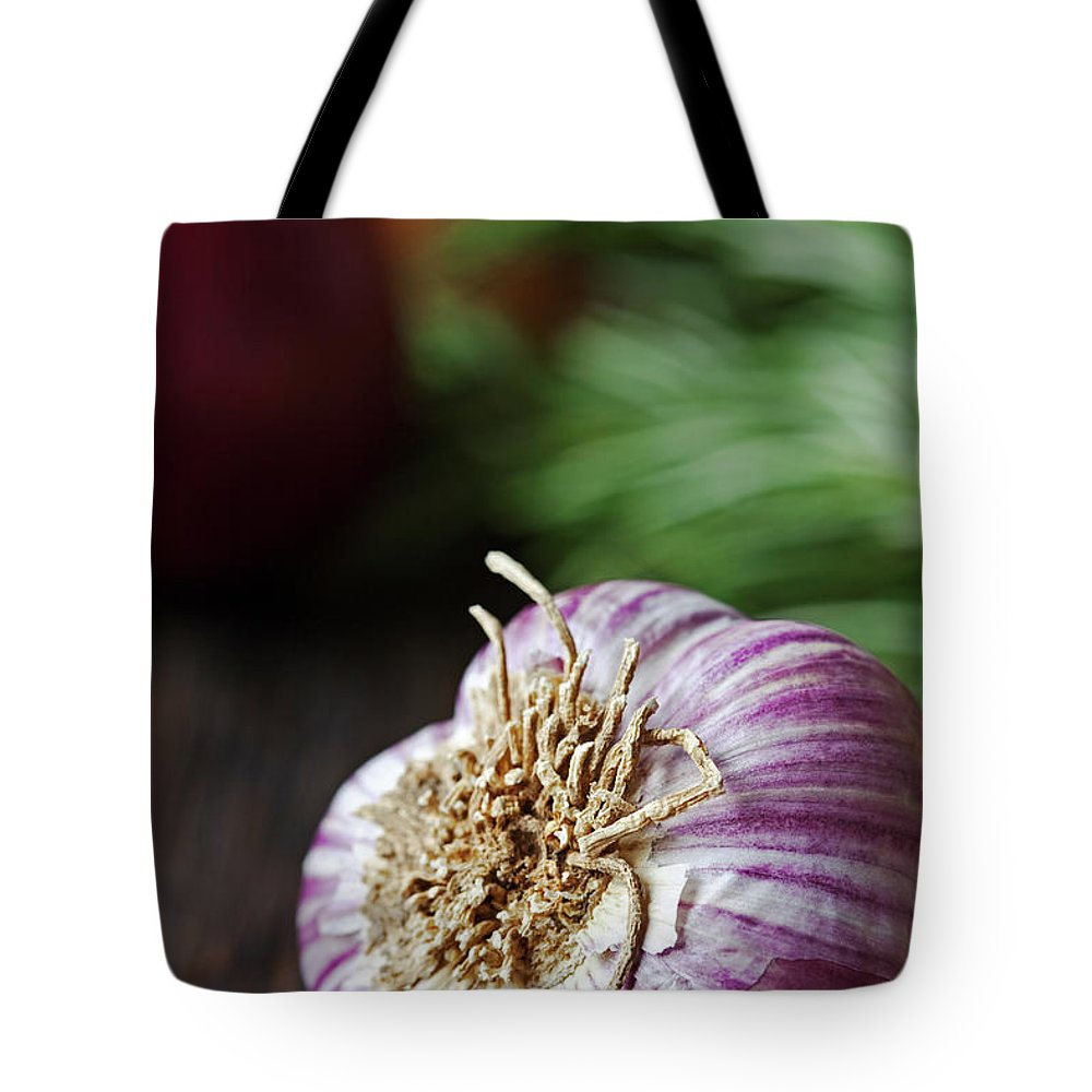 Wood Tote Bag featuring the photograph Garlic And Vegetables On A Rustic by John W Banagan