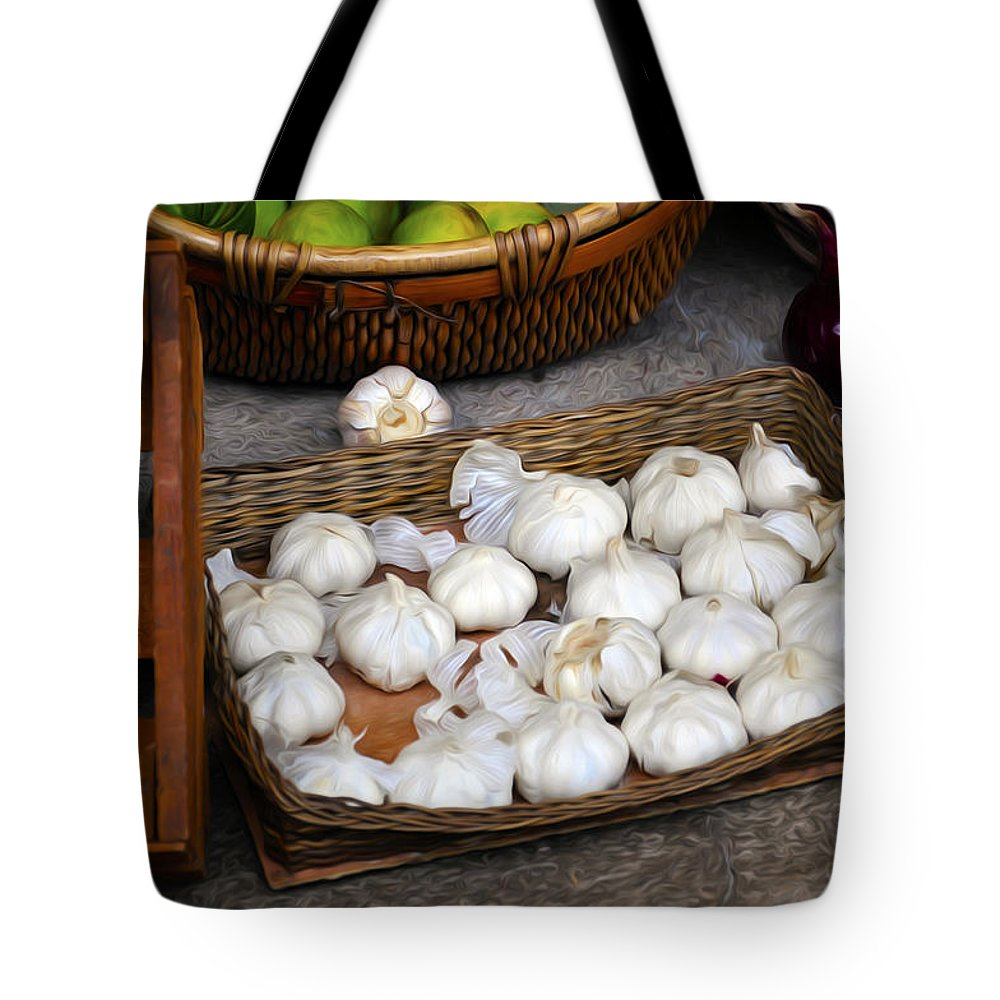 Garlic Tote Bag featuring the painting Garlic by Tom Bell