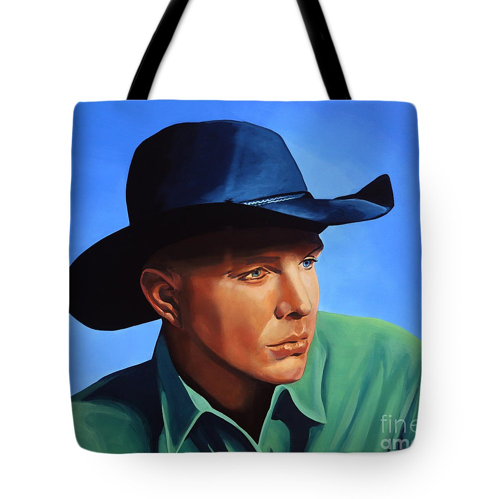 Garth Brooks Tote Bag featuring the painting Garth Brooks by Paul Meijering
