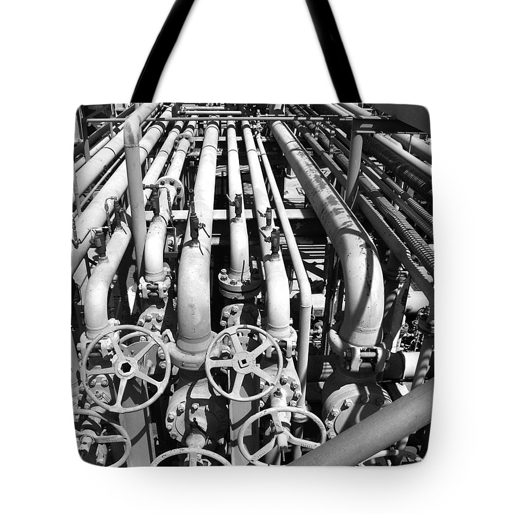 Oil And Gas Tote Bag featuring the photograph Gas Lines by Art Block Collections