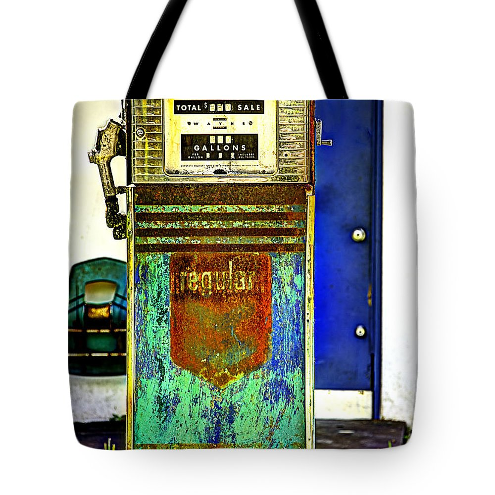 Gas Pump Tote Bag featuring the photograph Gas Pump by Bruce Bain