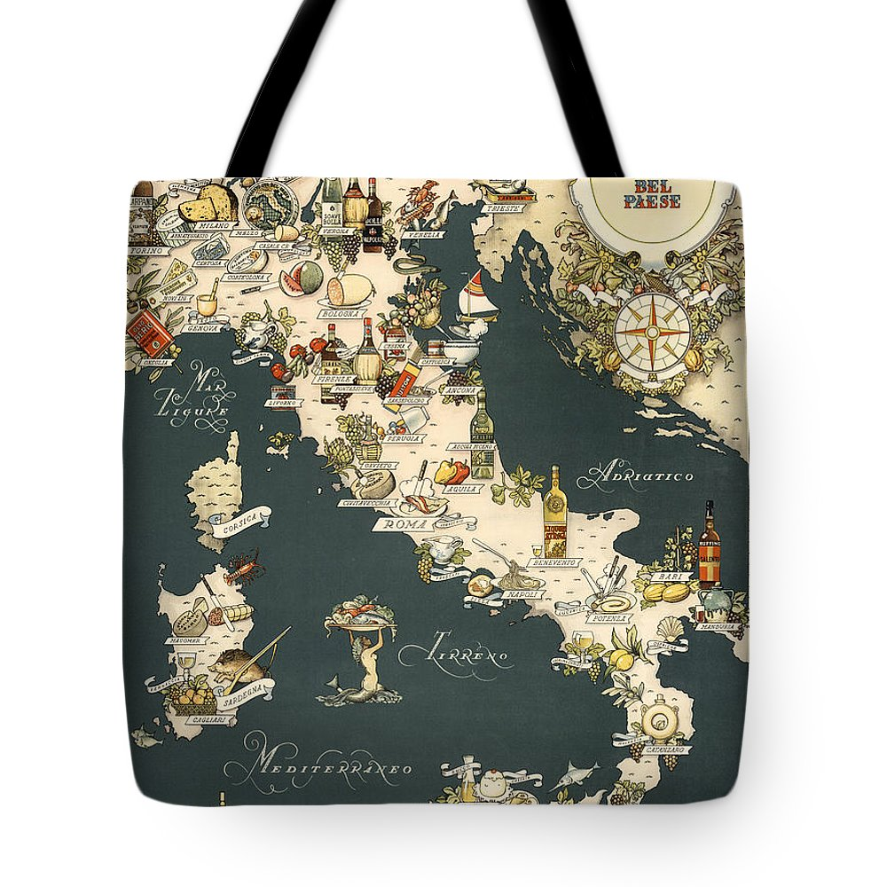 Italy Tote Bag featuring the photograph Gastronomic Map of Italy 1949 by Andrew Fare