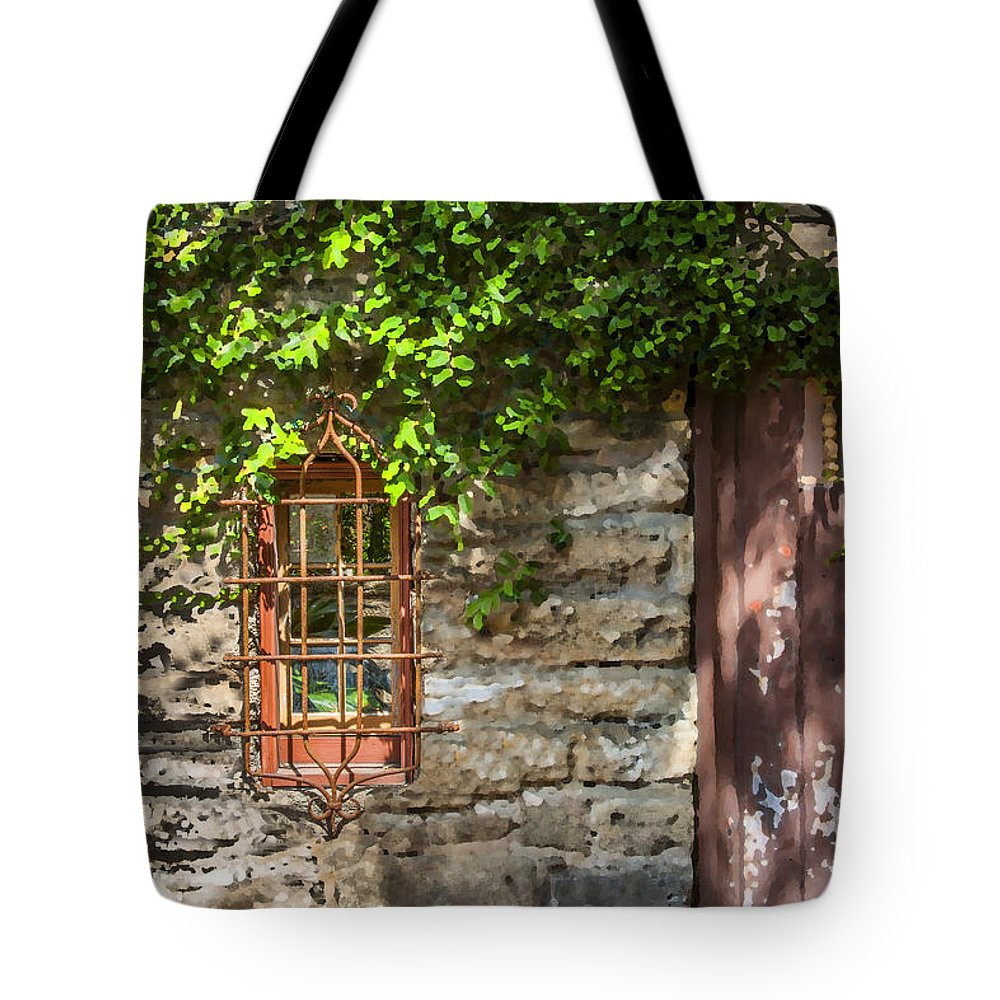 St. Augustine Tote Bag featuring the photograph Gate And Window by Rich Franco