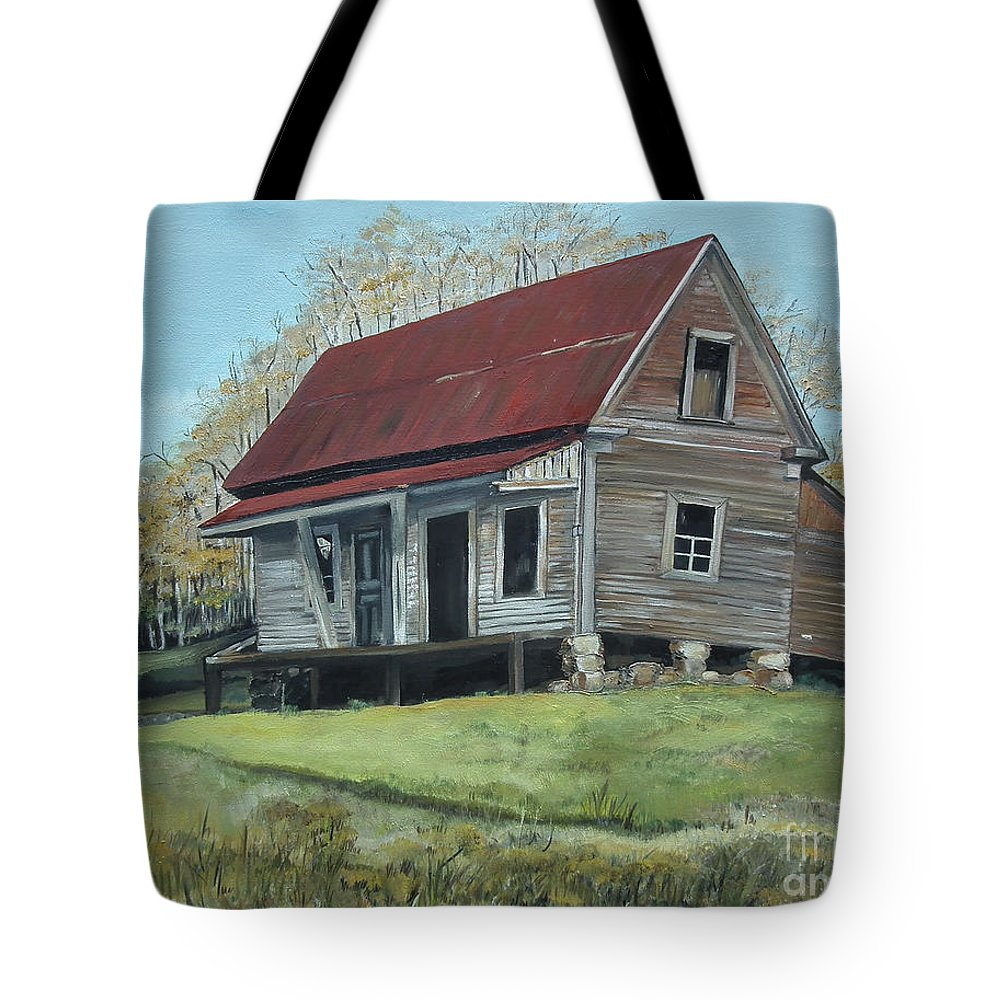 Gates Chapel Tote Bag featuring the painting Gates Chapel - Ellijay Ga - Old Homestead by Jan Dappen