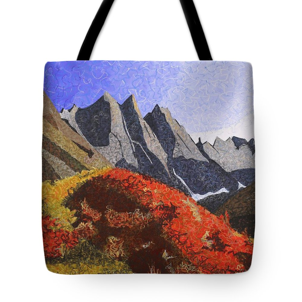 Landscape Tote Bag featuring the painting Gates Of The Arctic by C Ryan Pierce