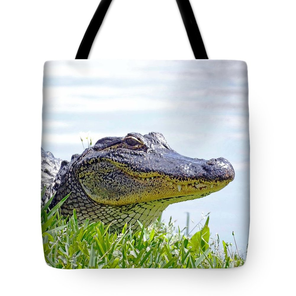 Alligator Tote Bag featuring the photograph Gator Smile by Lizi Beard-Ward