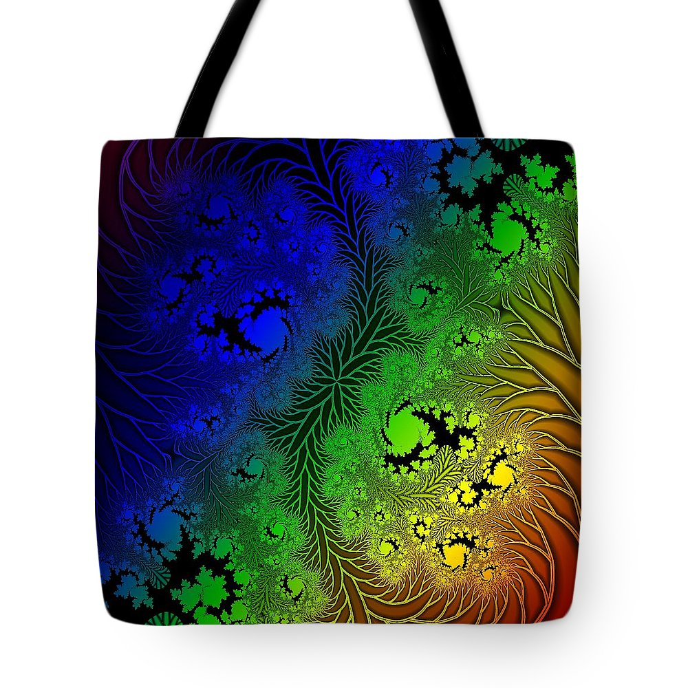 Fractal Tote Bag featuring the digital art Gaudy Floral Fractal by John Lynch
