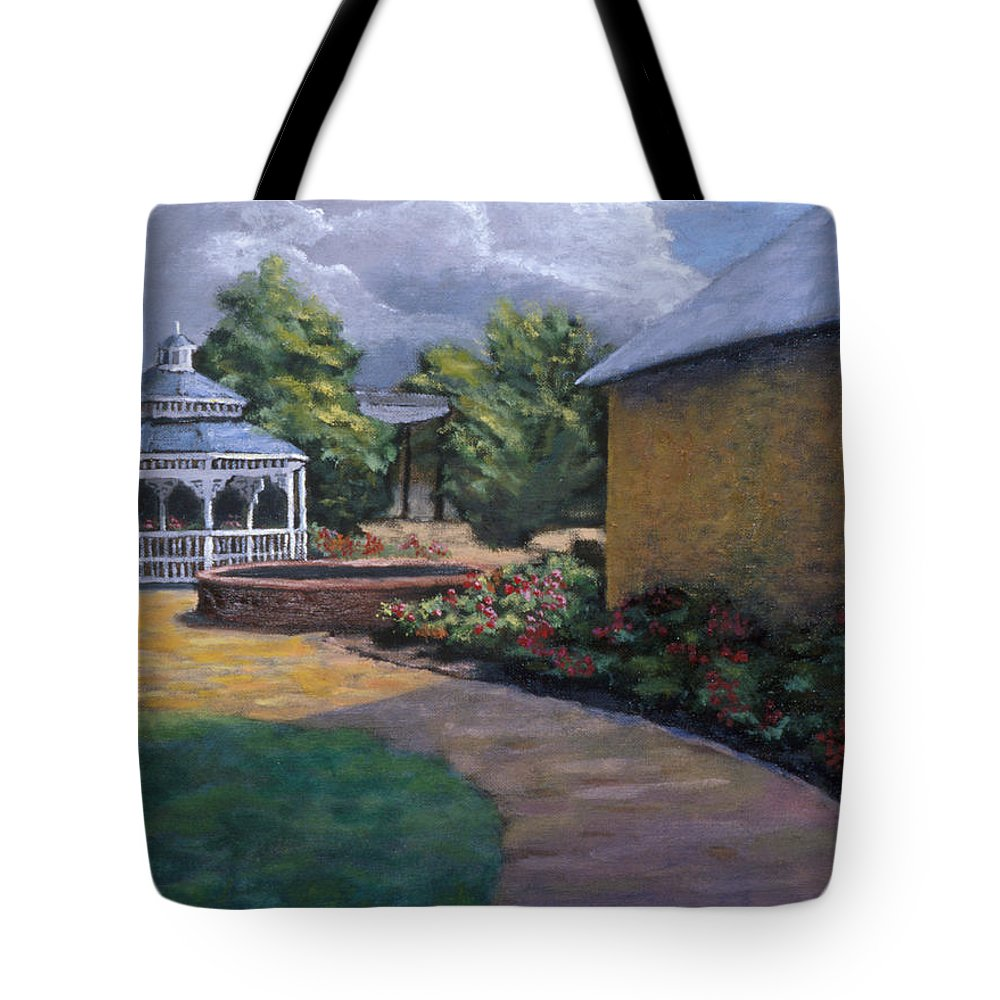 Potter Tote Bag featuring the painting Gazebo In Potter Nebraska by Jerry McElroy