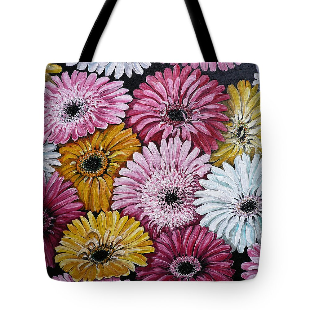 Flower Paintings Daisy Paintings Floral Paintings Blooms Color .gerbera Daisy Paintings Greeting Card Painting S Canvas Painting Poster Print Paintings Tote Bag featuring the painting Gebera Daisies by Karin Dawn Kelshall- Best