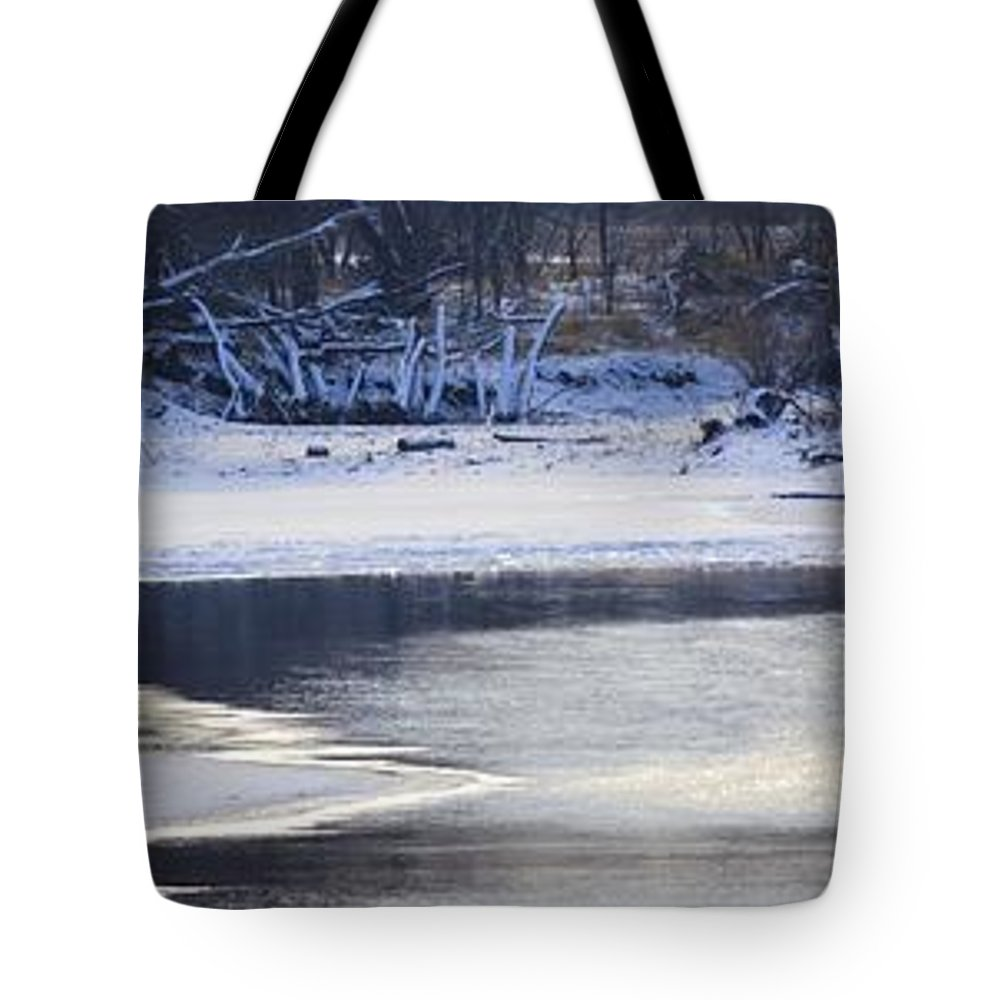 Geese Tote Bag featuring the photograph Geese On Ice by Bonfire Photography
