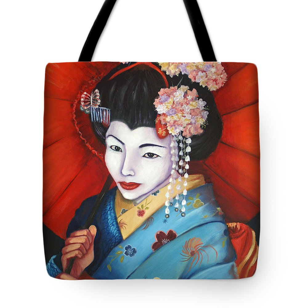 Geisha Woman Tote Bag featuring the painting Geisha Girl by Esther Rivas