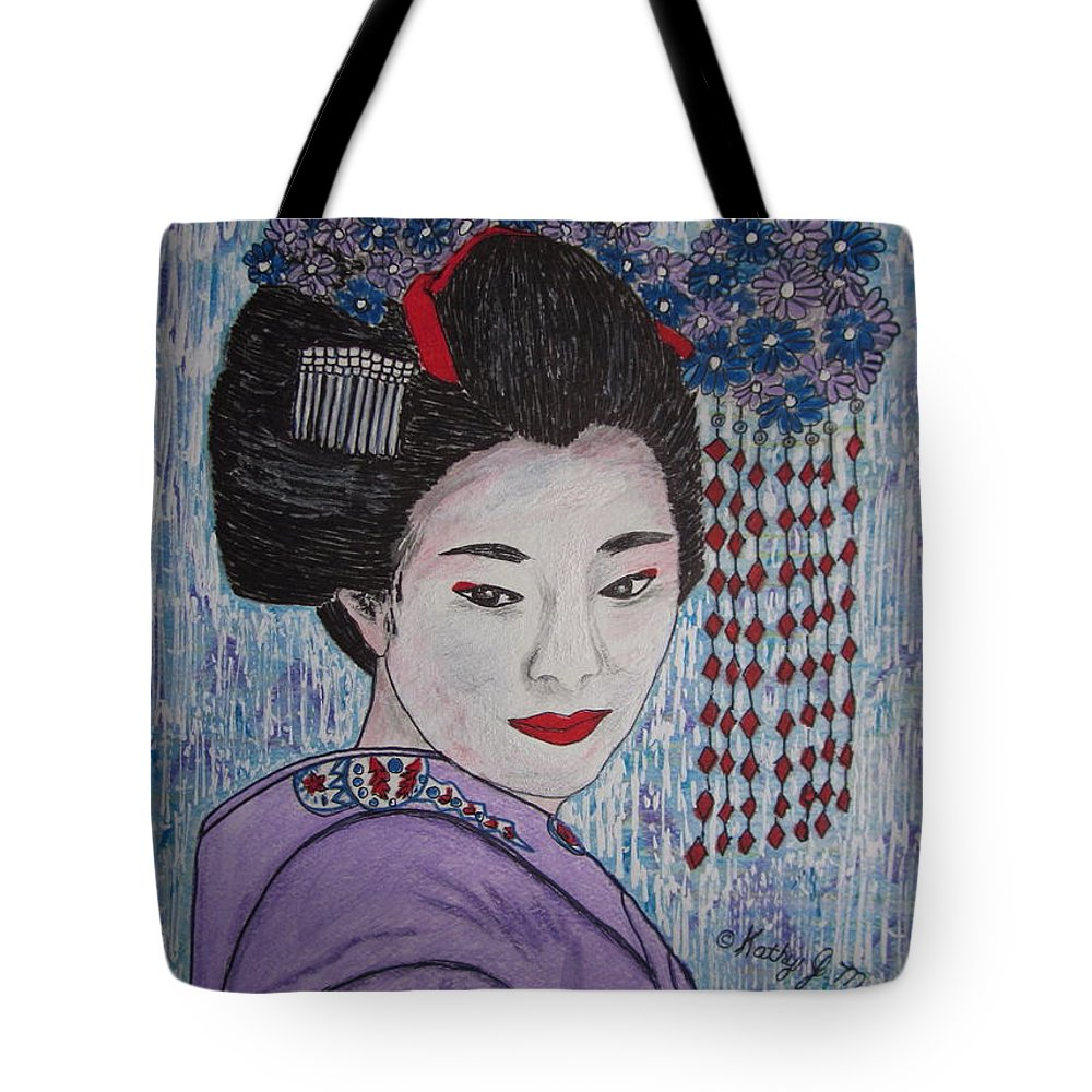 Oriental Tote Bag featuring the painting Geisha Girl by Kathy Marrs Chandler