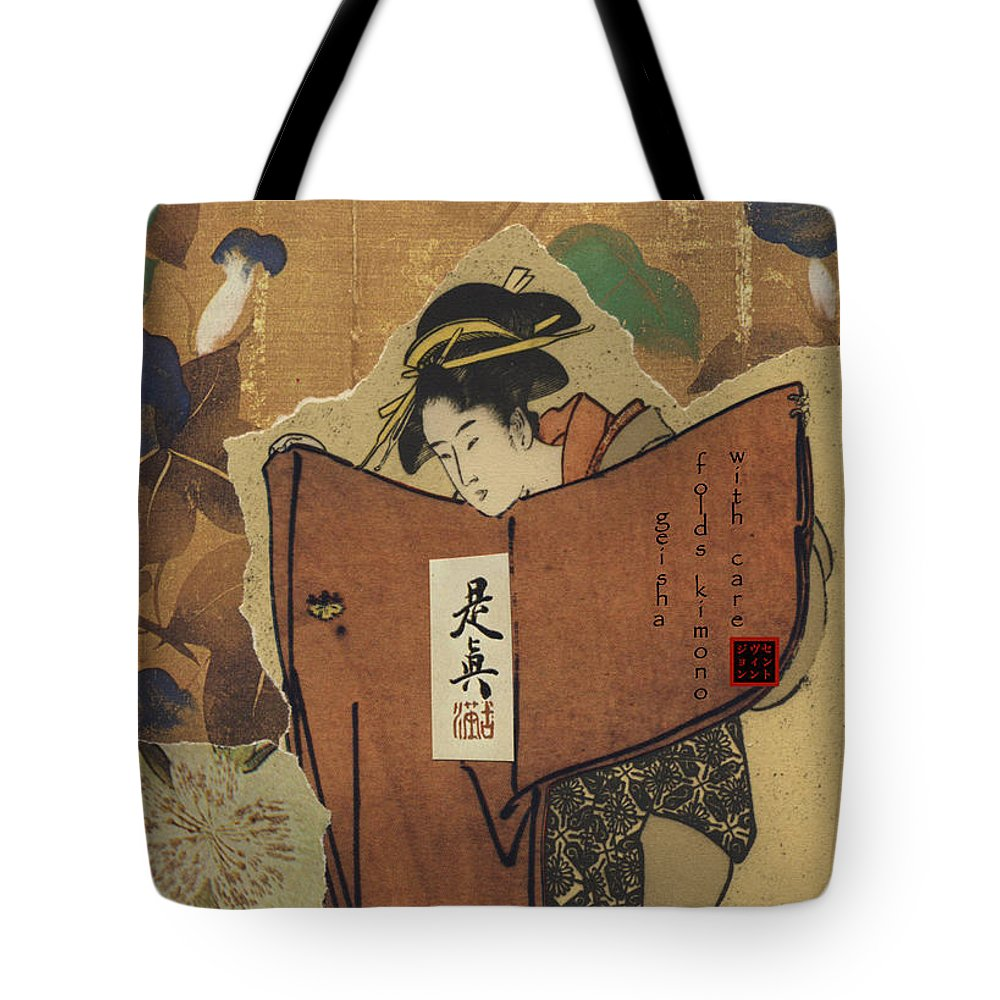 Collage Tote Bag featuring the digital art Geisha by John Vincent Palozzi