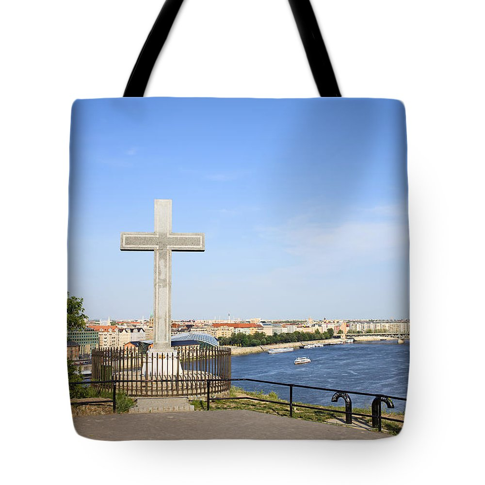 Cross Tote Bag featuring the photograph Gellert Hill Cross In Budapest by Artur Bogacki