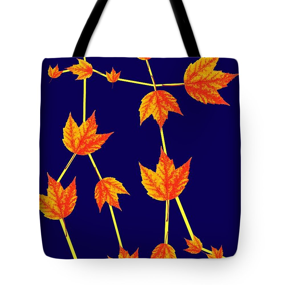 Gemini Tote Bag featuring the photograph Gemini Constellation Composed By Maple Leaves by Paul Ge