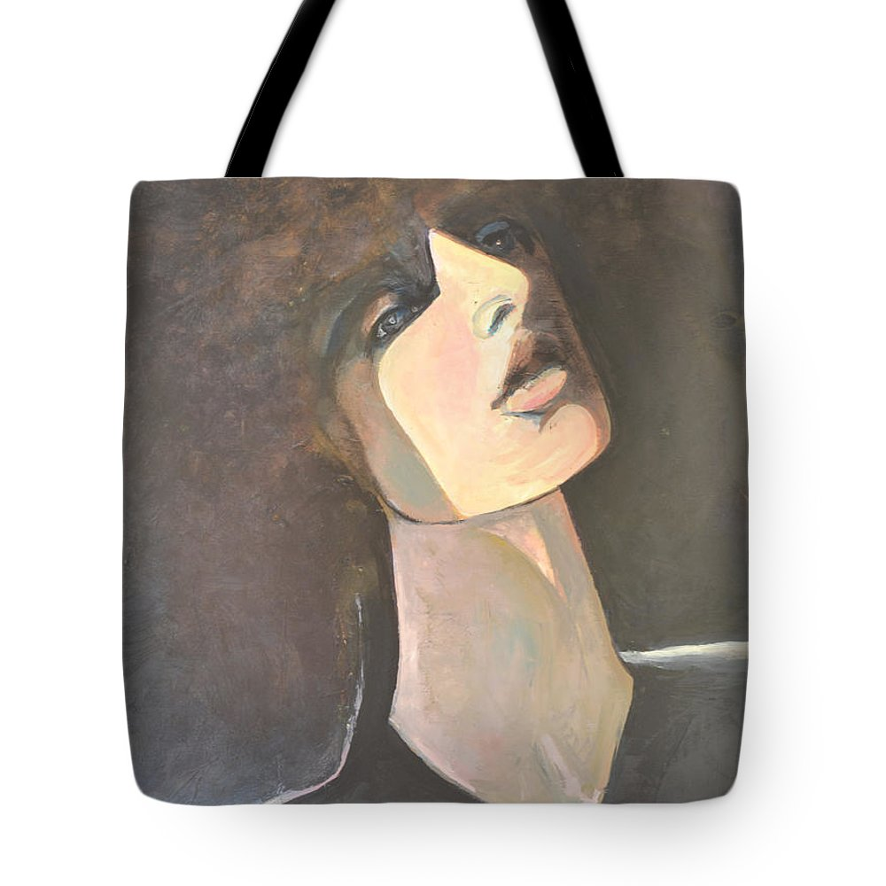 Female Portrait Tote Bag featuring the painting Gemini Revisited by Diane montana Jansson