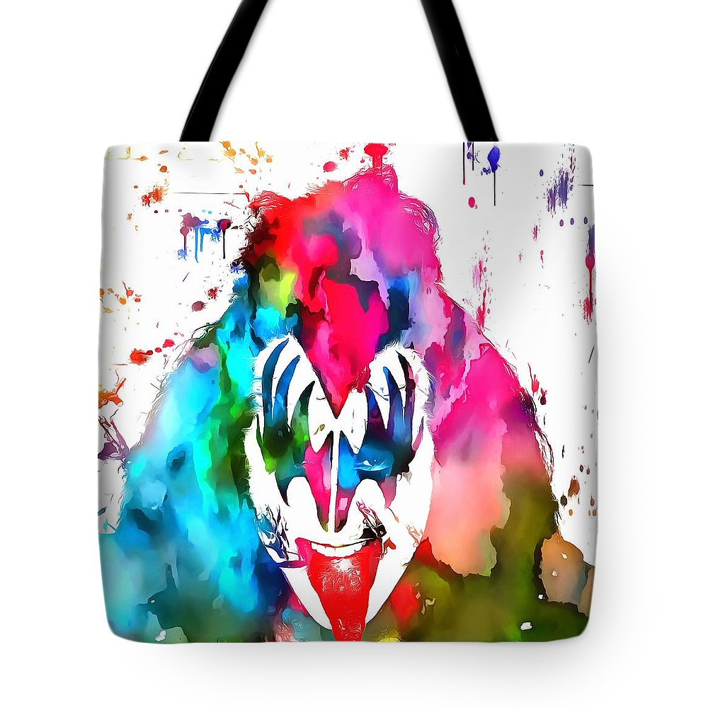 Gene Simmons Paint Splatter Tote Bag featuring the painting Gene Simmons Paint Splatter by Dan Sproul
