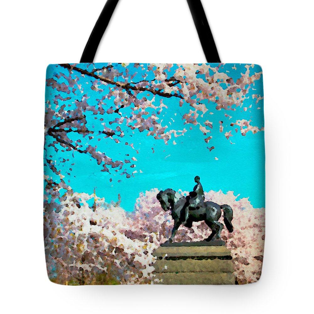 Cherry Blossoms Tote Bag featuring the photograph General In The Blossoms by Alice Gipson