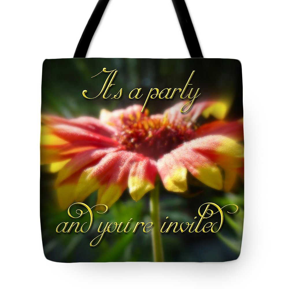 Invitation Tote Bag featuring the photograph General Party Invitation - Blanket Flower Wildflower by Mother Nature