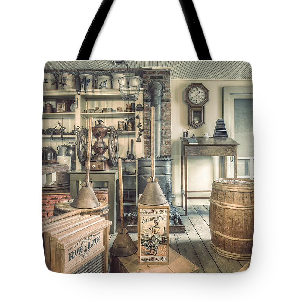 General Store Tote Bag featuring the photograph General Store - 19th Century Seaport Village by Gary Heller