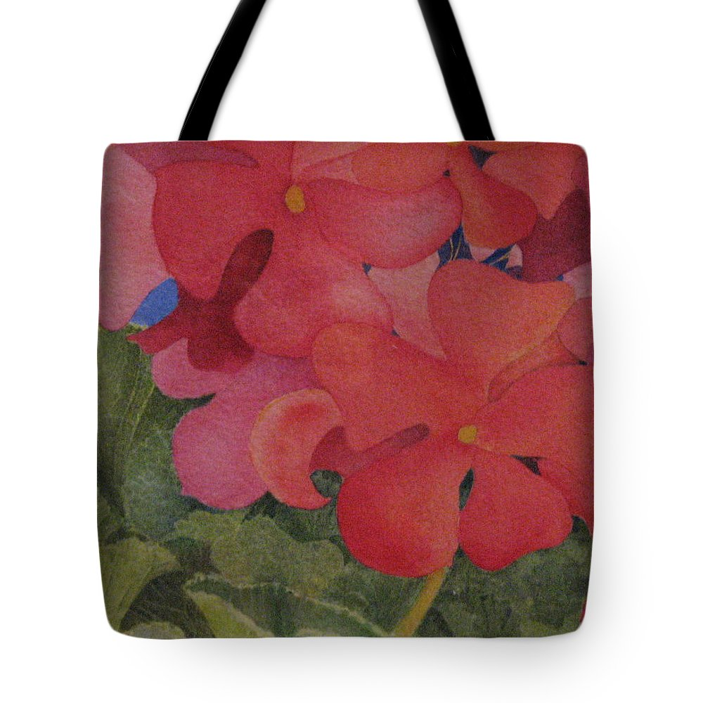 Florals Tote Bag featuring the painting Generium by Mary Ellen Mueller Legault