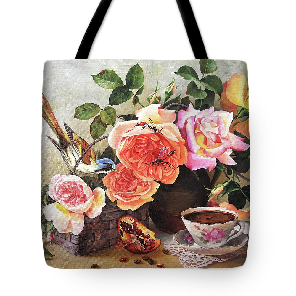 Floral Tote Bag featuring the painting Generous Blooming by Iva Rom-Lorenz