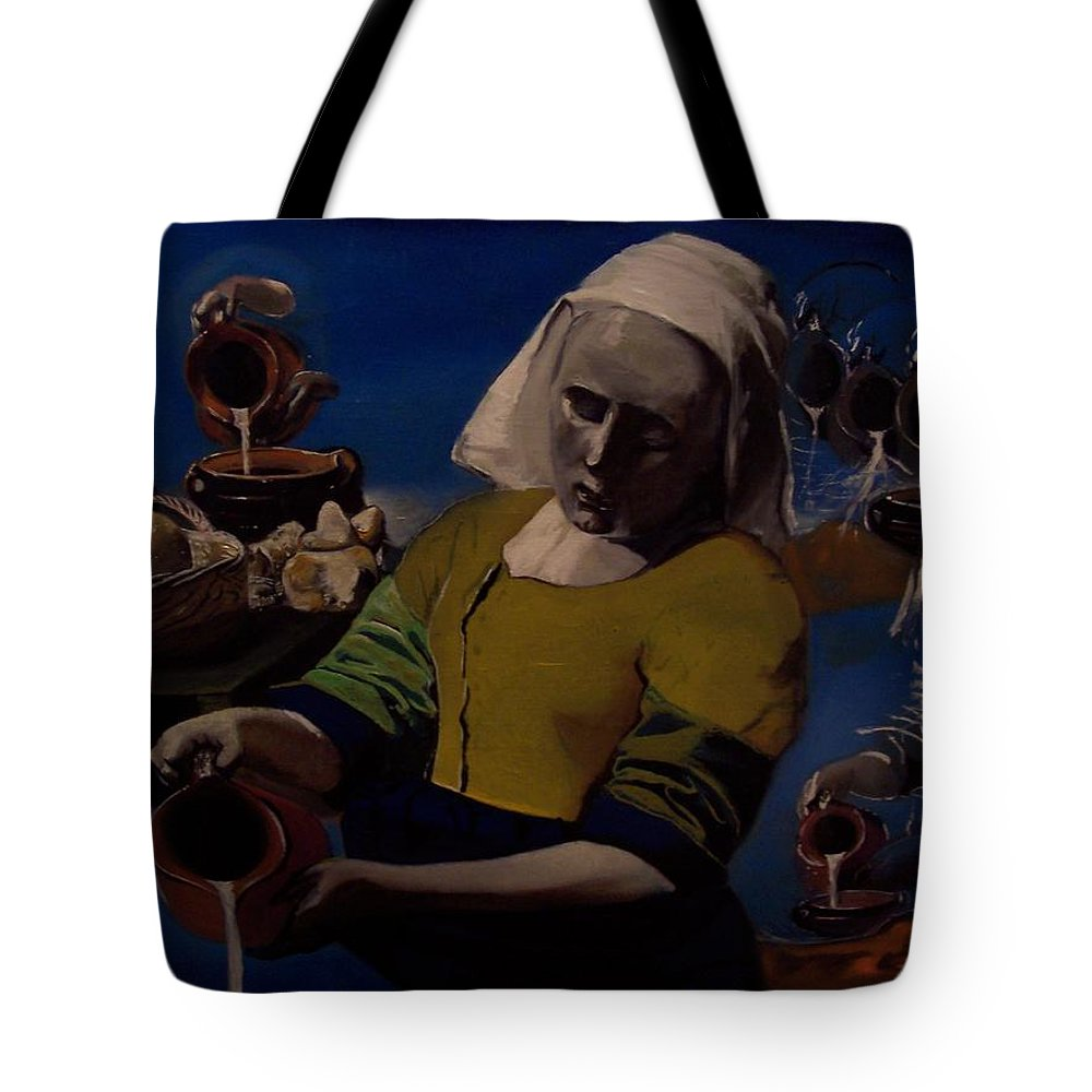 Tote Bag featuring the painting Geological Milk Maid Anthropomorphasized by Jude Darrien