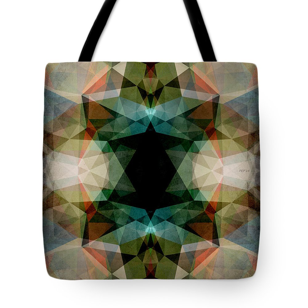 Geometry Tote Bag featuring the digital art Geometric Textured Abstract by Phil Perkins