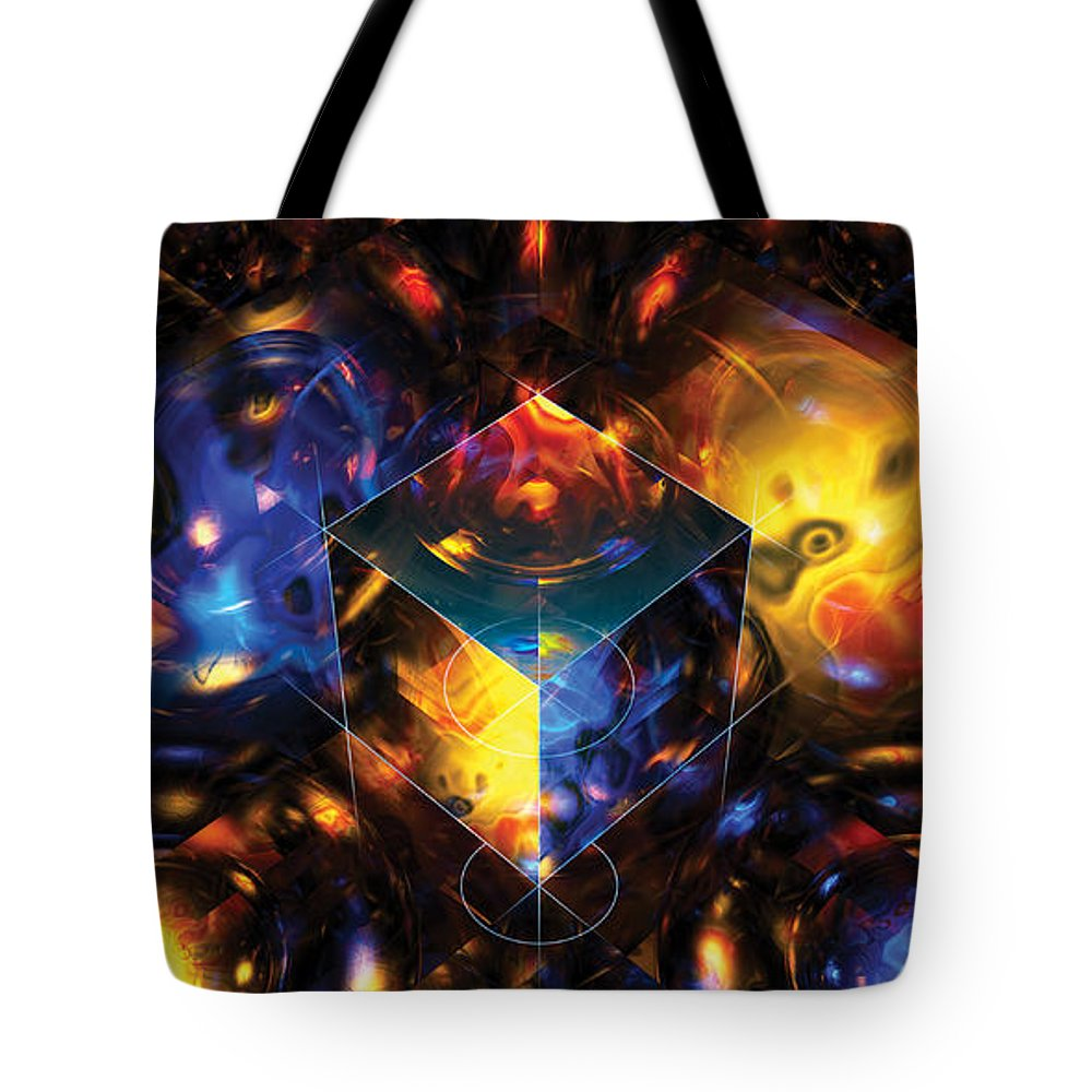 Abstract Tote Bag featuring the digital art Geometry Amid Chaos Lights by James Kramer