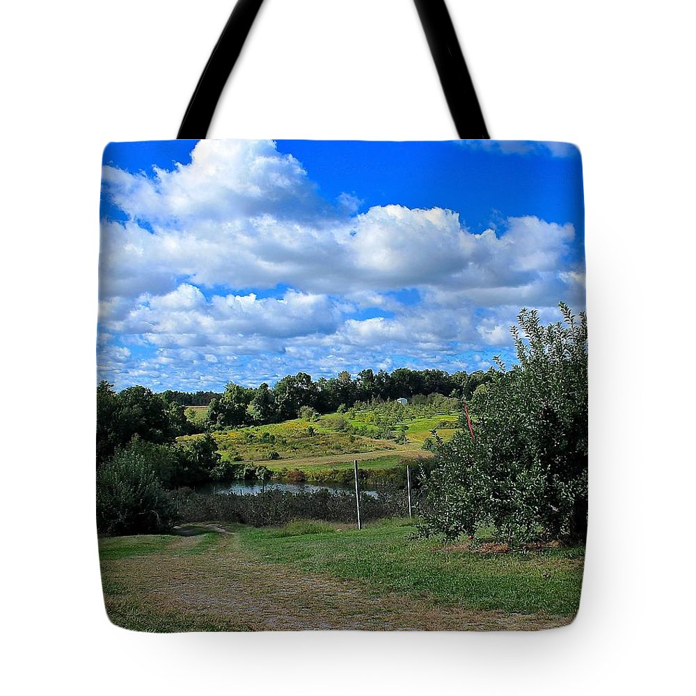Apple Orchard Tote Bag featuring the photograph George Hill Orchard by Michael Saunders