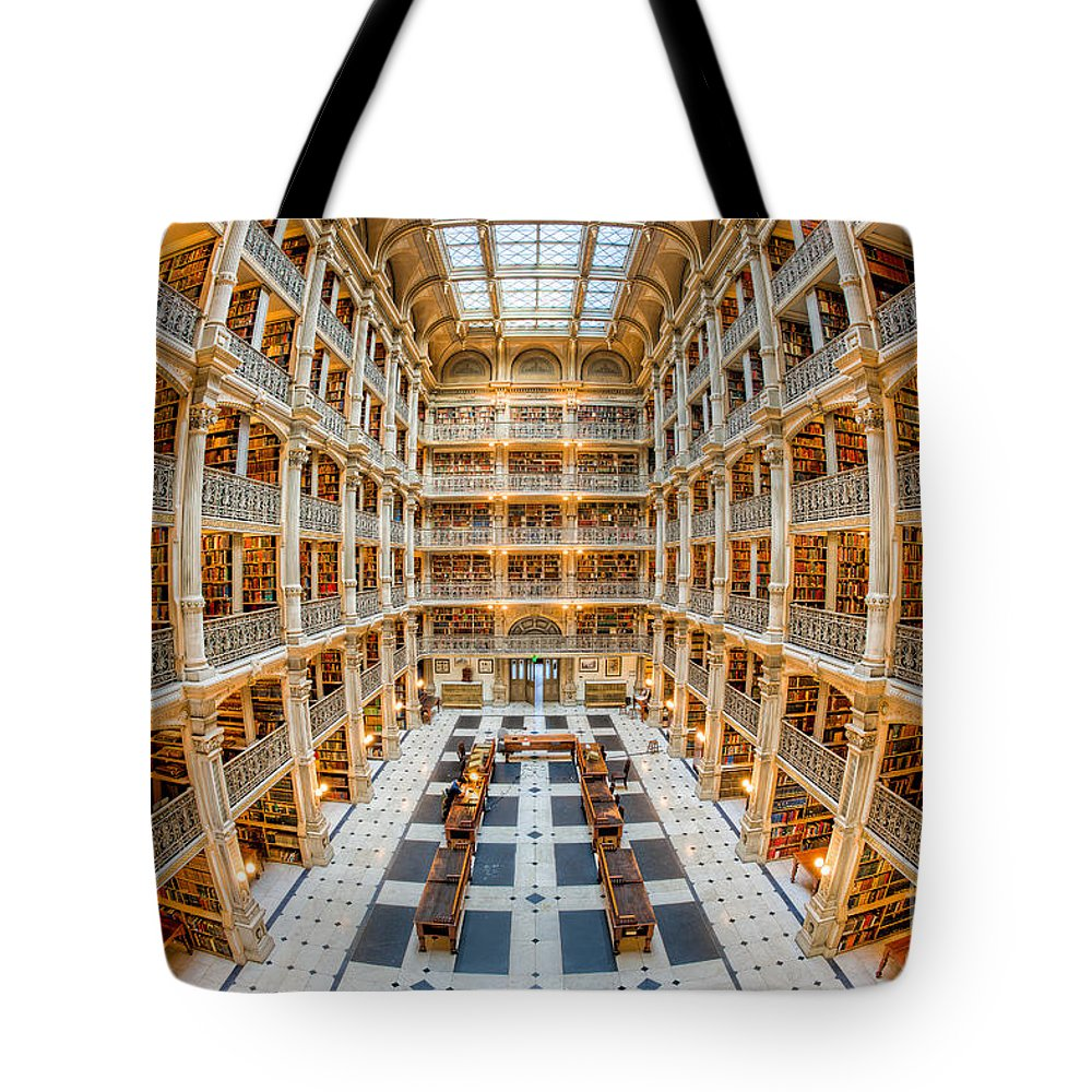 Clarence Holmes Tote Bag featuring the photograph George Peabody Library I by Clarence Holmes