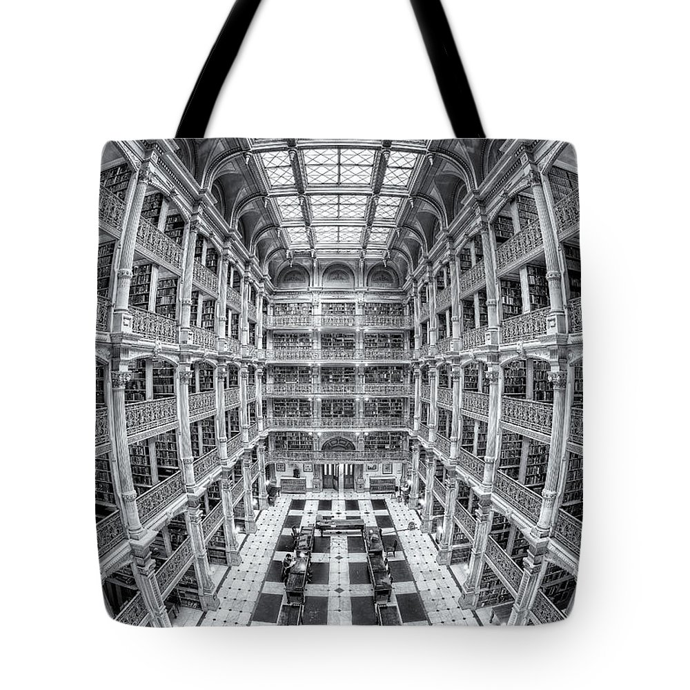 Clarence Holmes Tote Bag featuring the photograph George Peabody Library Iv by Clarence Holmes