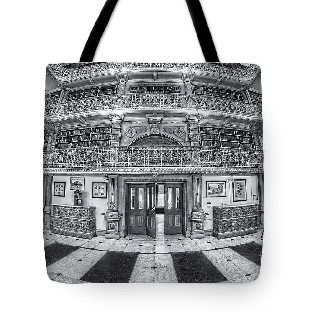 Clarence Holmes Tote Bag featuring the photograph George Peabody Library Vi by Clarence Holmes