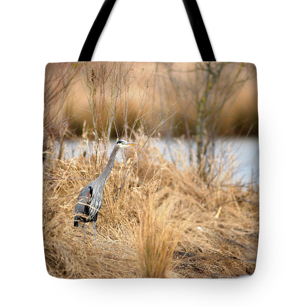 Great Blue Heron Tote Bag featuring the photograph George by Randy Giesbrecht