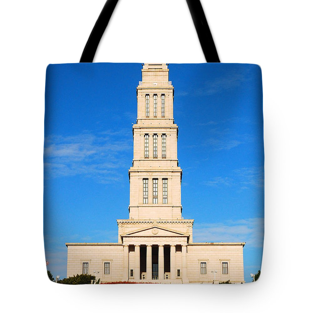 Alexandria Tote Bag featuring the photograph George Washington Masonic National Memorial by James Kirkikis